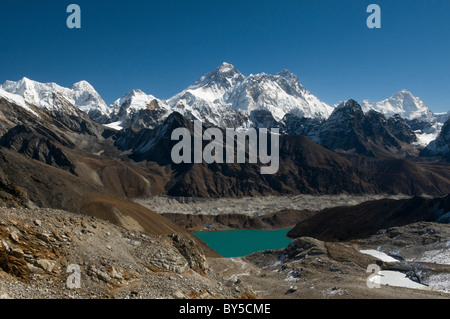 Gokyo Lake and Mount Everest view seen from the Renjo La Pass in Nepal - Stock Photo