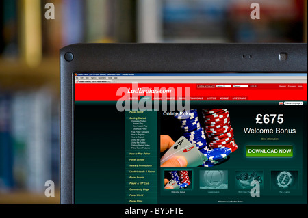 Playing online Poker with Ladbrokes bookmakers, UK - Stock Photo