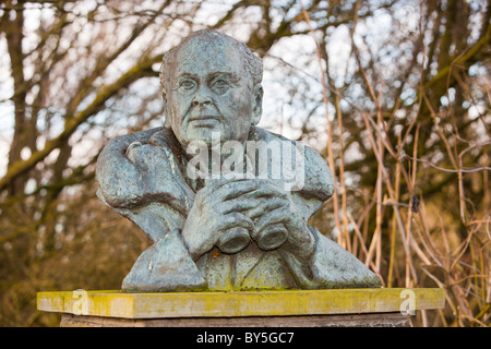 A bust of Sir Peter Scott, founder of the Wildfowl and Wetlands Trust at Martin Mere bird reserve near Ormskirk, - Stock Photo