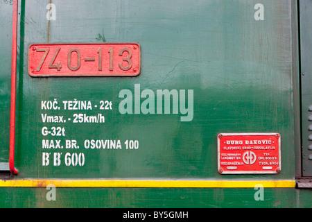 detail of diesel locomotive, Banovici, Bosnia and Hercegovina - Stock Photo
