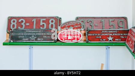 signs of locomotive, Banovici, Bosnia and Hercegovina - Stock Photo