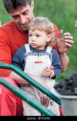 portrait of father with his child, Bosnia and Hercegovina - Stock Photo
