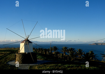 A traditional wooden windmill dating from the late 18th century located on Porto Santo island in the Atlantic Ocean - Stock Photo