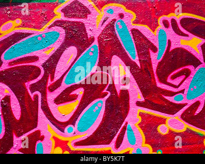 Colorful abstract graffiti/ graffito on a wall in Dresden, Germany - Stock Photo