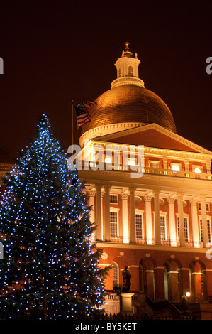 Christmas tree in front of Massachusetts State Capitol building Boston Massachusetts USA - Stock Photo
