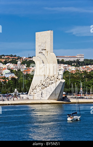 The Discoveries Monument on the north bank of The Tagus River in Lisbon Portugal - Stock Photo