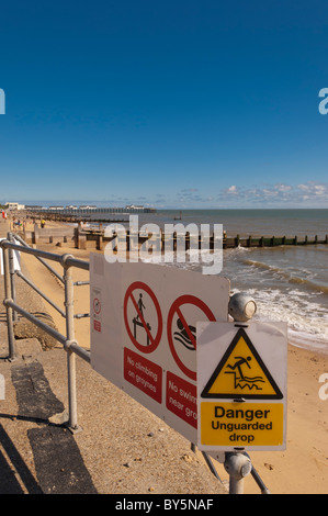 Warning signs on the seafront in Southwold , Suffolk , England , Britain , Uk - Stock Photo