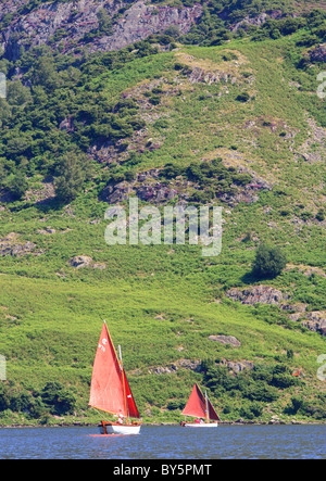 Yachts on Ullswater in the Lake District National Park - Stock Photo