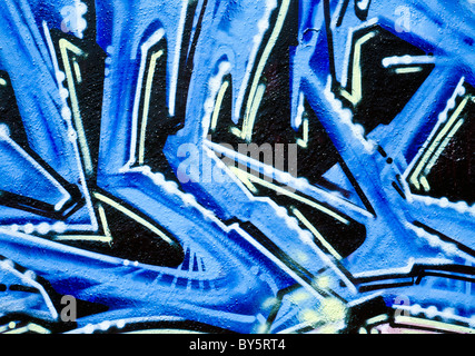 Colorful abstract graffiti / graffito on a wall in Dresden, Germany - Stock Photo