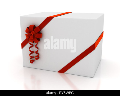 Greeting card with ribbon over white - Stock Photo