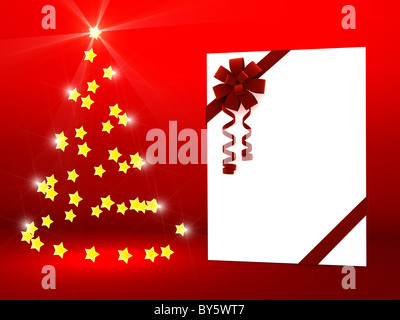 Greeting card with ribbon over red - Stock Photo