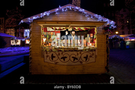 A stand in Brussels Christmas Market - Stock Photo