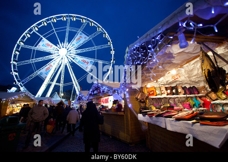 Brussels Christmas Market in Place Sainte-Catherine - Stock Photo