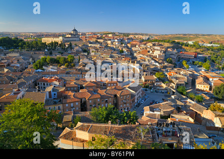 Elevated view over Toledo with the Alcazar on the horizon, Castilla-La Mancha, central Spain - Stock Photo