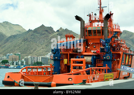 Aft deck of ocean going salvage tug. Tenerife - Stock Photo