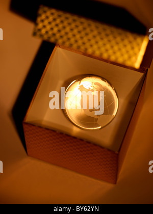 crystal globe of the earth in a gift box - Stock Photo