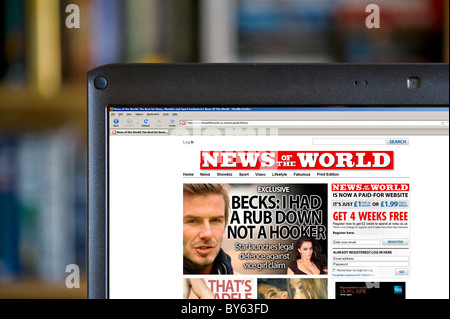 The News of the World online edition displayed on a laptop computer, UK - Stock Photo