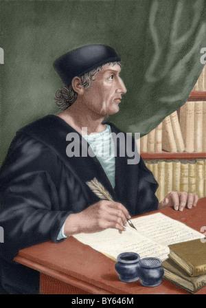 Nebrija, Elio Antonio de (1441-1522). Spanish Humanist. Colored engraving. - Stock Photo