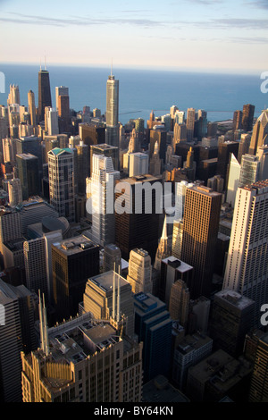 Aerial view of the city and Lake Michigan waterfront from the Willis Tower in Chicago, Illinois, USA. - Stock Photo