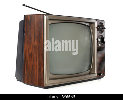 Vintage television isolated over white background - Stock Photo