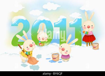 illustration in 2011 lunar year rabbits - Stock Photo