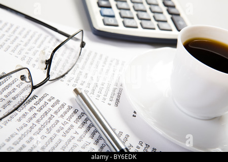 Photo of several business objects placed on the workplace - Stock Photo