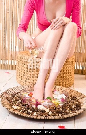 Woman doing home spa treatment for feet - Stock Photo
