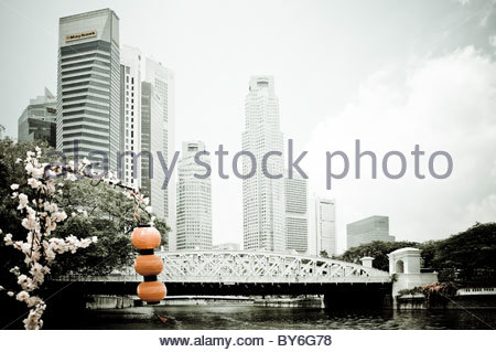 Red lanterns and artificial flowers found on a boat trip along the Singapore River, skyscrapers of the financial - Stock Photo