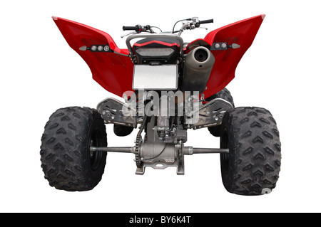 back view of atv quad-bike isolated - Stock Photo