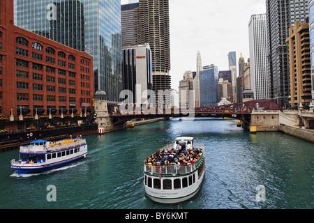 Cruise on the Chicago River, Chicago, Illinois, USA - Stock Photo
