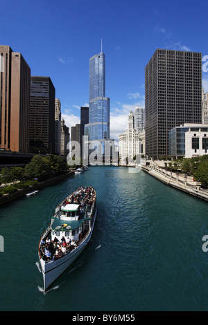 Cruise on Chicago River, Trump Tower in the background, Chicago, Illinois, USA - Stock Photo