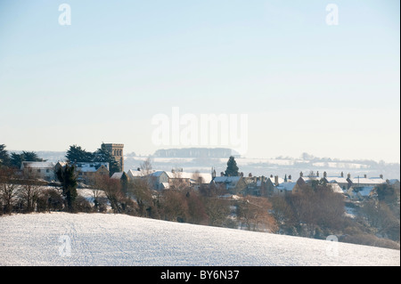 View towards Whiteshill from Ruscombe with winter snow, near Stroud, Gloucestershire, England, United Kingdom - Stock Photo