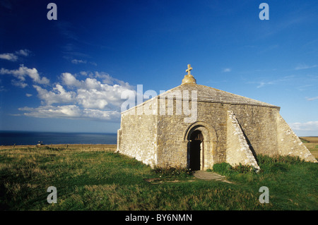 12th century St Aldhelm's Chapel on the Jurassic Dorset Coastal Path is an isolated Norman building, in the Purbeck - Stock Photo