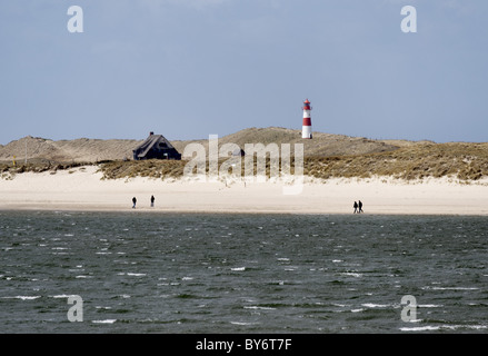 Elbow peninsula and List East lighthouse, Sylt, Schleswig-Holstein, Germany - Stock Photo