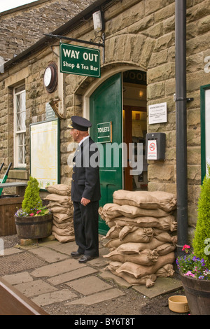 1940's re-enactment weekend at Leyburn, North Yorkshire. The picture shows the Station Master at Leyburn Railway - Stock Photo