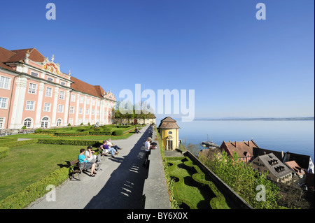 Castle Neues Schloss with park and lake Constance, Meersburg, lake Constance, Baden-Wuerttemberg, Germany - Stock Photo