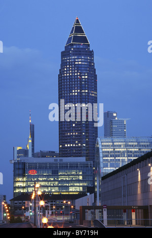 Messeturm, architect Helmut Jahn, Frankfurt am Main, Hesse, Germany - Stock Photo