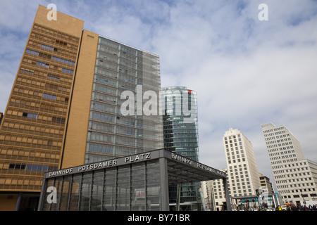 Bahn Tower and Beisheim Center at Potsdamer Platz, Berlin, Germany - Stock Photo