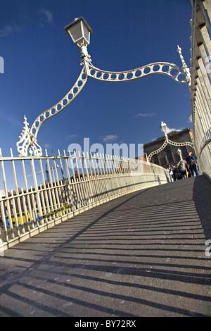 On the Ha'Penny Bridge, Dublin, County Dublin, Ireland - Stock Photo