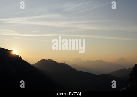 Sunrise over the Dolomites seen from Marmolada, Marmolada, Dolomites, UNESCO World Heritage Site Dolomites, Trentino, - Stock Photo