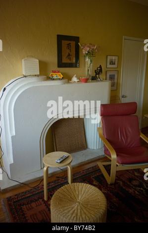 Art deco living room of apartment, Miami Beach, Florida, USA