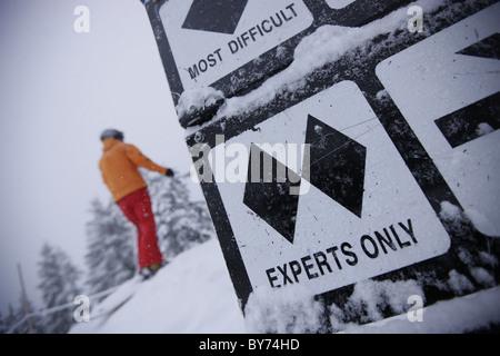 Double Black Diamond information board, Grouse Mountain, British Columbia, Canada - Stock Photo