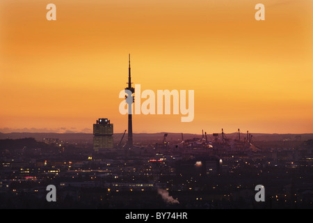 Cityscape with Olympic Park, Munich, Bavaria, Germany - Stock Photo