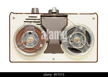 Vintage reel-to-reel tape recorder circa 1967, AIWA brand, made in Japan. Brandname has been removed from photo. - Stock Photo