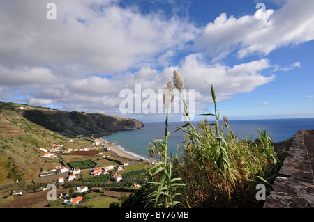 View from Miradouro da Macela at the village of Praia, Island of Santa Maria, Azores, Portugal, Europe - Stock Photo