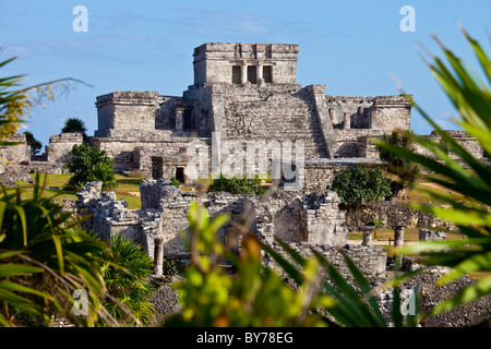 El Castillo, Tulum, Mayan ruins on the Yucatan Peninsula, Mexico - Stock Photo