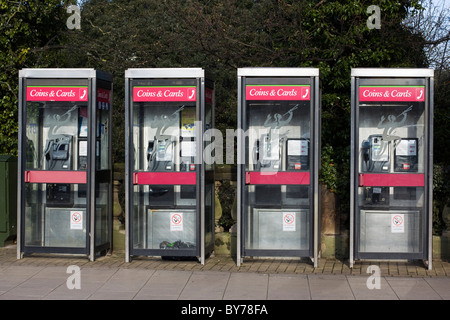 A row of New Telephone Boxes - Stock Photo