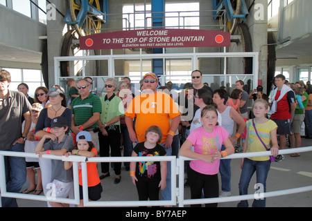 Atlanta Georgia Stone Mountain Park quartz monzonite monadnock geology summit Skyride Swiss cable car gondola lift - Stock Photo