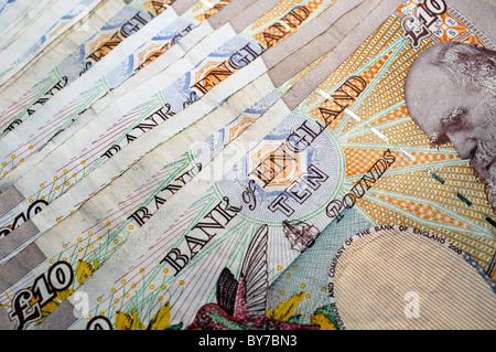 British ten pound notes. - Stock Photo