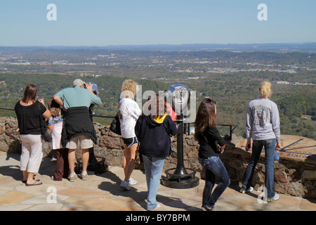 Georgia Lookout Mountain Rock City Lover's Leap roadside attraction panoramic view coin-operated binoculars seven - Stock Photo